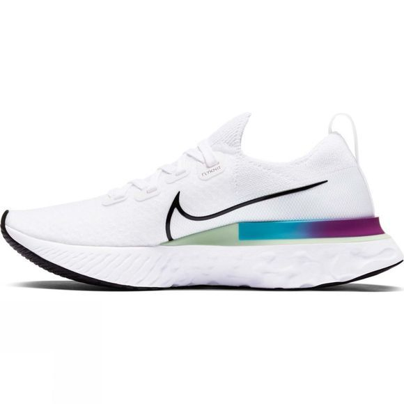 Nike Women's Epic React Infinity Run Flyknit White/Black-Vapor Green-Orange Aqua