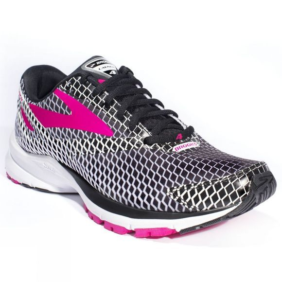 Brooks Womens Launch 4 Black/Purple Patterned