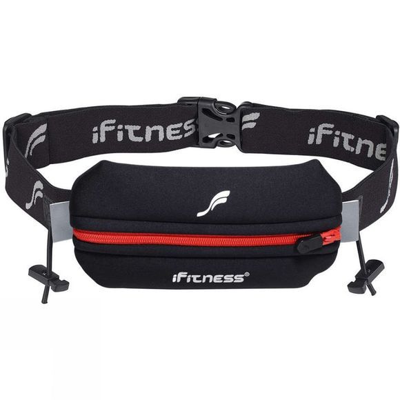 Fitletic Single Neoprene Race Belt With Race Number Holder Black          /Red