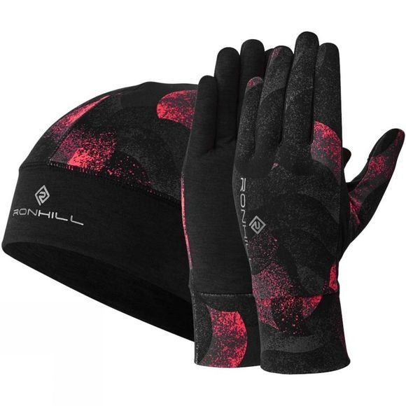 Ronhill Contour Beanie & Glove Set Hot Pink Wave