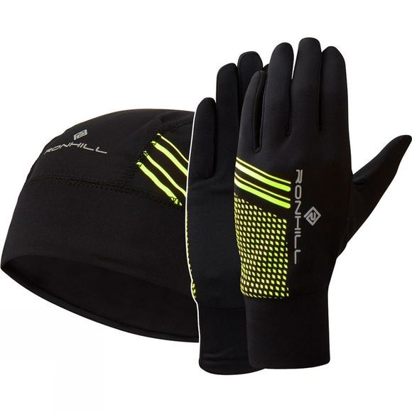 Ronhill Unisex Beanie and Glove Set Black/Fluo Yellow