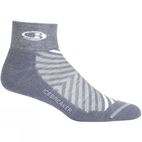 Icebreaker Mens Run+ Light Mini Sock Twister Hthr/White