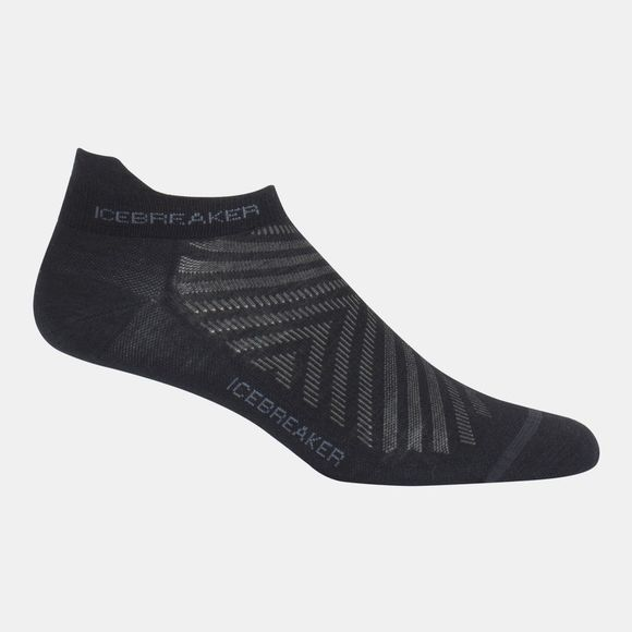 Icebreaker Mens Run+ Ultra Light Micro Sock Black/Monsoon