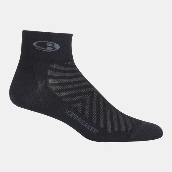 Icebreaker Mens Run+ Ultra Light Mini Sock Black/Monsoon