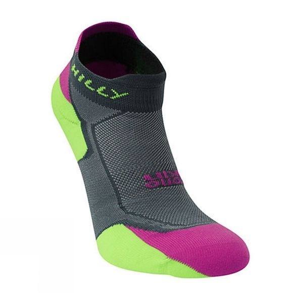 Hilly Women's Lite Cushion Socklet Grey / Purple / Fluo Green