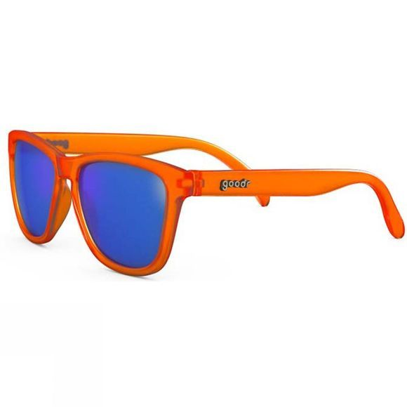 Goodr Donkey Goggles Orange with Blue Lens