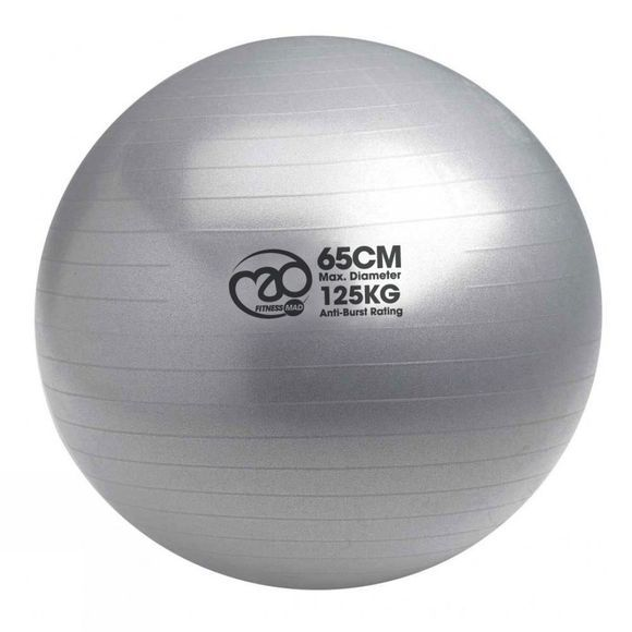 Fitness Mad 125Kg Swiss Ball & Pump - 65cm Silver